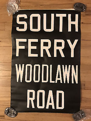1957 NYC R22 New York Subway Sign Collectible South Ferry Woodlawn Road