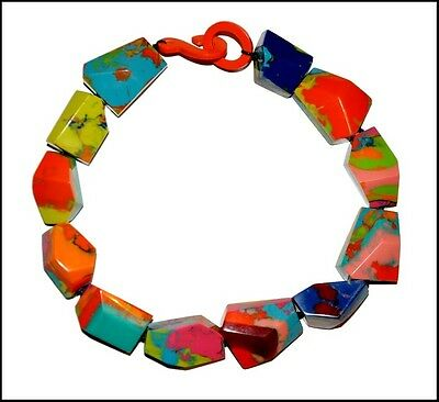 Beautiful Chunky Swirled Multicolor Resin Choker Necklace