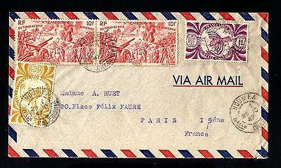 14861-NEW CALEDONIA-AIRMAIL COVER NOUMEA (tahiti) 1947.WWII.Nouvelle Caledonie.