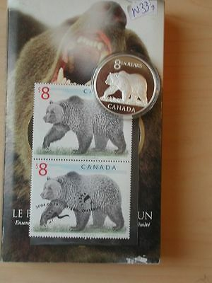 Canada 2004  8 Dollar Silver Proof Great Grizzly +Stamp   No Taxes