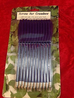 Package of 12 Arrow for Crossbow Metal Point Heads One Dozen Arrows Royal Blue