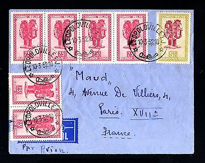 14831-BELGIAN CONGO-AIRMAIL COVER LEOPOLDVILLE to PARIS (france)1952.Congo belge