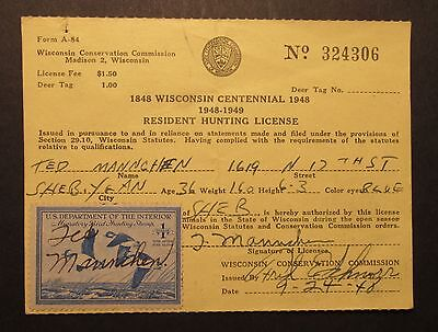 RW15 Federal Duck Stamp on 1948 Wisconsin Hunting License