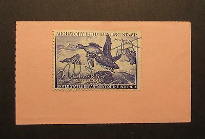 RW19 Federal Duck Stamp on 1952 California Hunting License