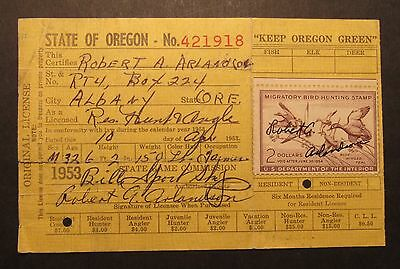 RW20 Federal Duck Stamp on 1953 Oregon Hunting License