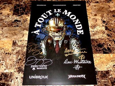 Dave Mustaine & Jerry Vietz Rare Signed A Tout Le Monde Beer Poster Megadeth COA