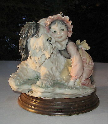 Collectable Vintage Old English Sheepdog With Girl Mounted On A Wood Base
