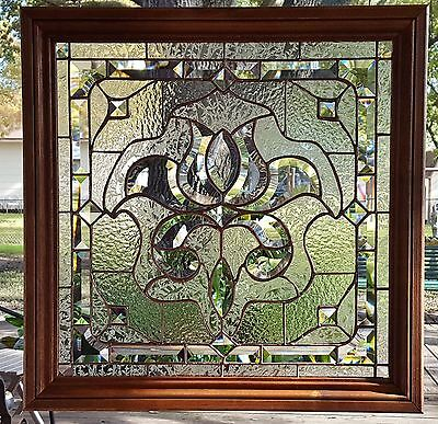 "STAINED GLASS WINDOW ART PANEL SUN CATCHER VICTORIAN CLEAR BEVELS 21x21"" FRAMED"