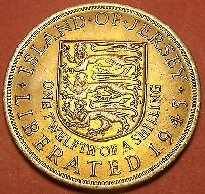 Large Jersey 1945 1/12th Shilling~Gem Unc~Liberation Commemorative~Free Shipping