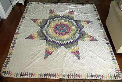 "Vintage Fabric Lone Star Quilt Hand Quilted Queen Size 92"" x 86"" Pastel on White"