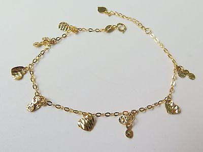 Solid 18K Yellow Gold Bracelet Heart Charm with O link Chain Bracelet 19cm L