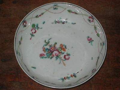 English Late 18Th  Century Painted Saucer Bowl Floral Painted Sprigs