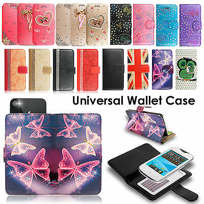Universal Magnetic Premium Leather Wallet Book Flip Case Cover For Phone Models