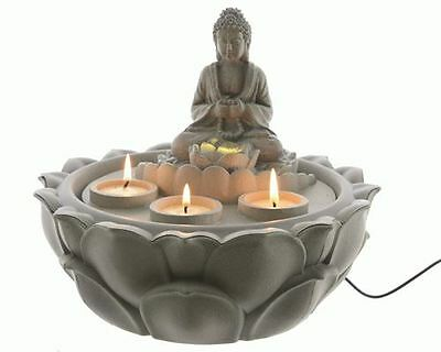 LED Buddha Indoor Tabletop Water Feature with Lotus Base Ideal for Feng Shui