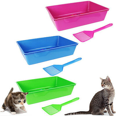 Cat Litter Box Tray Scooper Scoop Kitten Kitty Pet Toilet Plastic Open Training