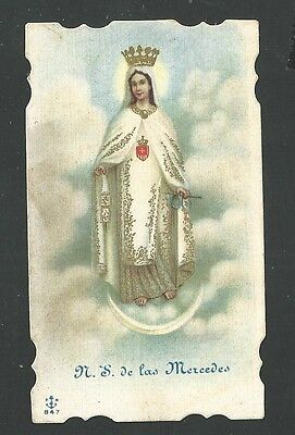estampa antigua Virgen de la Merced santino holy card image pieuse