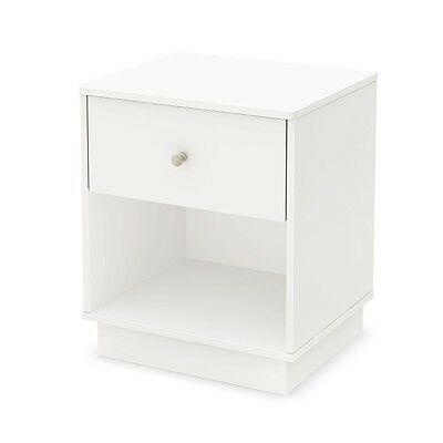 South Shore Litchi Night Stand, Pure White