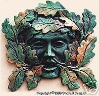A  greenman green man plaque  OUTDOOR  VERSION pagan gothic