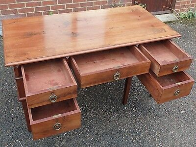 Victorian antique solid mahogany twin pedestal 5 drawer writing table desk
