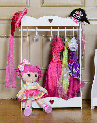 Children's Wooden Dress Up Rail Kids Dressing Wardrobe Free Standing Clothes Rai