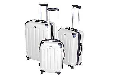 3tlg. ABS Trolley Case Set Suitcase Trolley set Hard case in white