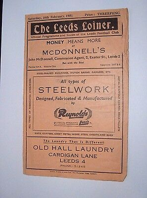 LEEDS v OLDHAM   RUGBY LEAGUE  PROGRAMME   10TH FEB 1951