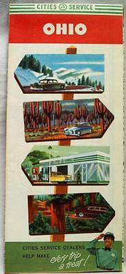 CITIES SERVICE STATE OF OHIO AUTOMOBILE HIGHWAY ROAD MAP 1950s VINTAGE TRAVEL