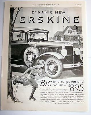 Print ad 1930 Dynamic new Erskine by Studebaker