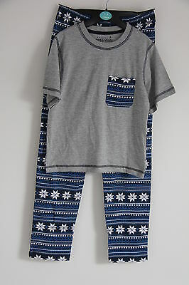 Ex Chainstore Boys Kids Aztec Grey Blue Cotton Pyjamas Set 7-13 Years New