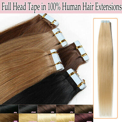 "Tape in Skin Weft 100% Remy Real Human Hair Extensions 16-22"" 50-100G AU Express"