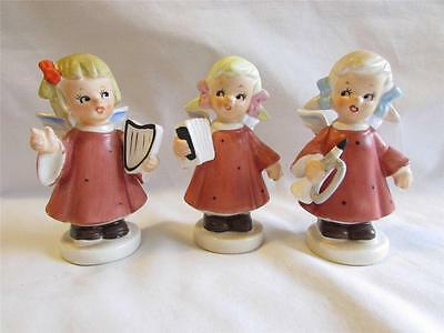 Vintage Christmas Ries Ceramic Angel Girl Set with Instruments 1950's Japan