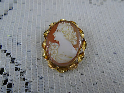 Stunning Vintage RAINBOW Gold Filled Shell Cameo Brooch Pin & Pendant Combo