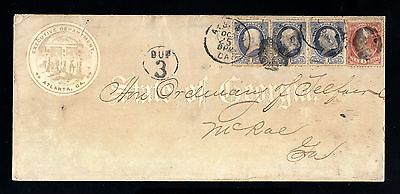 14874-USA-OLD COVER ATLANTA to MCRAE.1873.UNITED STATES.EEUU.Envelope.TAXE 3 Cts