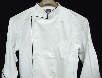 Dickies White with Black Piping Grand Master Chef Coat Jacket XL CW070105 New