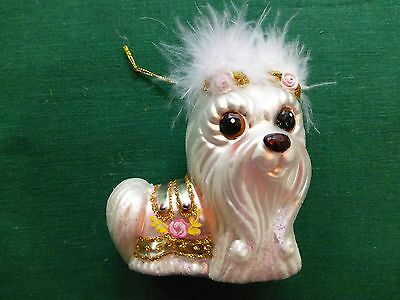 Adorable large frosted glass Maltese fancy dog ornament sparkles