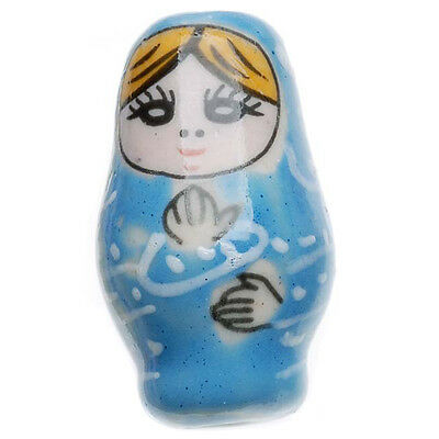 Painted Porcelain Matryoshka Russian Nesting Doll Style Beads Lt Blue 27mm (2)