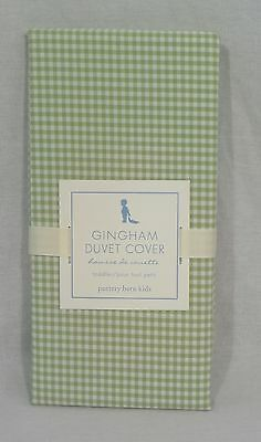 Pottery Barn Kids Green Gingham Toddler Duvet Cover