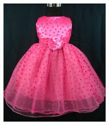 New Hot Pink Party Flower Girl Pageant Dress 12-18 Months