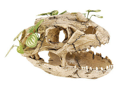 Skull with Silk Plant Reptile Terrarium Vivarium Aquarium Ornament Decoration