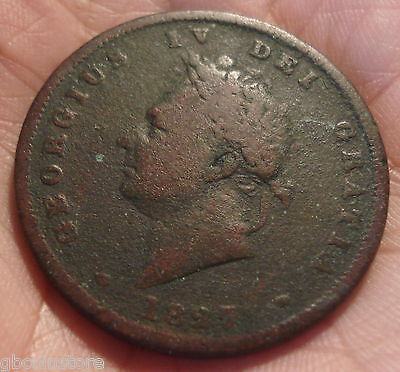 Very Rare 1827 George Iv Penny Clear Date & Detail Spink 3823