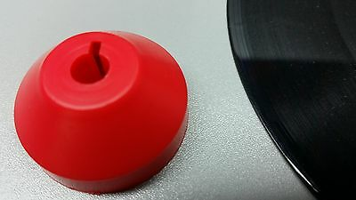 """10 Red Dome Center Adapters Plastic Spindle Insert for 45rpm 7"""" 45 Vinyl Records"""