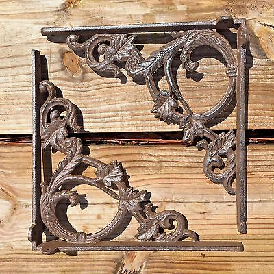 "Set of 2 antique style Cast Iron Decorative Shelf Brackets 9.5"" x 9.5"" #76"