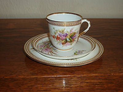 Rare Antique Royal Worcester Trio - Hand Painted Flowers/Gilded/Jewelled Borders