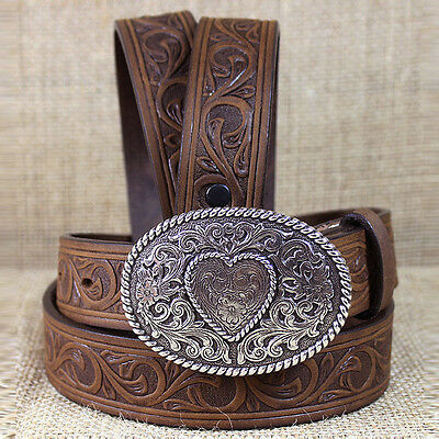 "34"" Justin Brown Leather Girl's Trophy Western Belt With Oval Buckle"