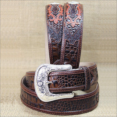 42 inch TONY LAMA MEN'S CHOCOLATE BROWN SOUTHERN CAIMAN LEATHER BELT