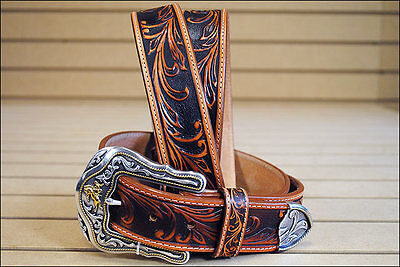 34in. TONY LAMA TOOLED LEATHER WESTERLY RIDE MEN BELT TAN MADE IN THE USA