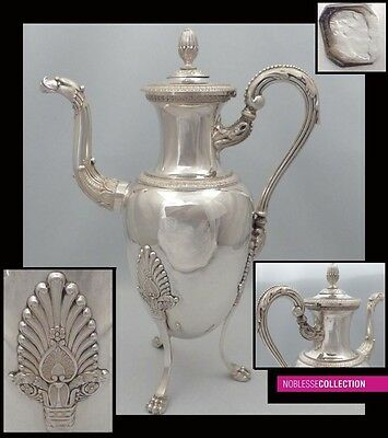 GIGANTIC 1820s ANTIQUE FRENCH STERLING SILVER COFFEE POT 37oz Empire style 14 in