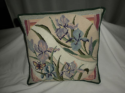 "VTG BEAUTIFUL 14"" Sq Handmade IRISES Wool Needlepoint Pillow 1988"