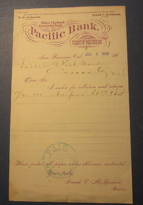 Old 1889 PACIFIC BANK - San Francisco CA. - Letterhead - Collection & Returns
