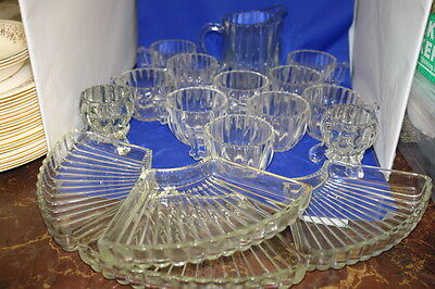 Jeanette Glass Lot of 17 - Pitcher, Jug, 10 Glasses, Candlesticks & 4 Part Tray
